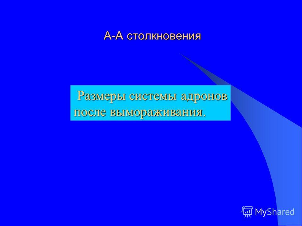 А-А столкновения А-А столкновения Размеры системы адронов Размеры системы адронов после вымораживания.