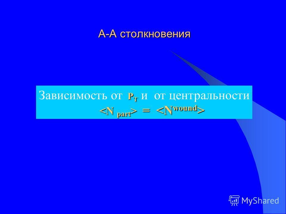 А-А столкновения А-А столкновения P T Зависимость от P T и от центральности = =
