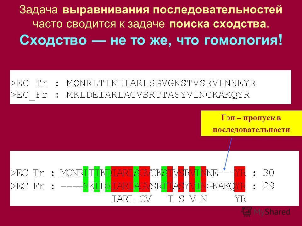 Гэп – пропуск в последовательности Задача выравнивания последовательностей часто сводится к задаче поиска сходства. Сходство не то же, что гомология !