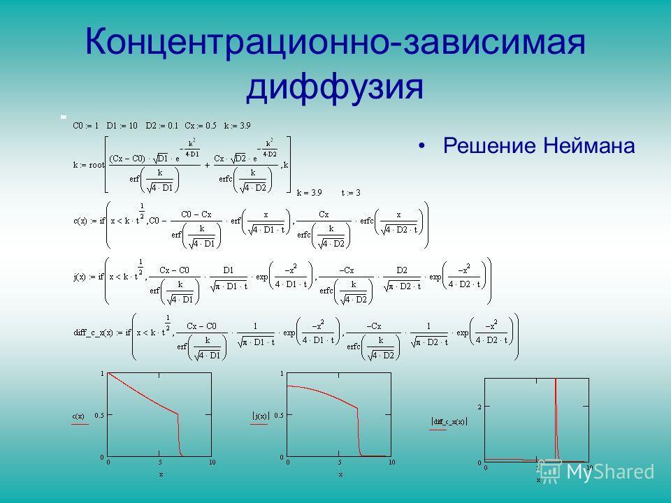 Концентрационно-зависимая диффузия Решение Неймана