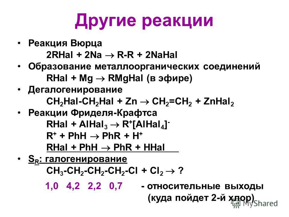 Другие реакции Реакция Вюрца 2RHal + 2Na R-R + 2NaHal Образование металлоорганических соединений RHal + Mg RMgHal (в эфире) Дегалогенирование СH 2 Hal-CH 2 Hal + Zn CH 2 =CH 2 + ZnHal 2 Реакции Фриделя-Крафтса RHal + AlHal 3 R + [AlHal 4 ] - R + + Ph