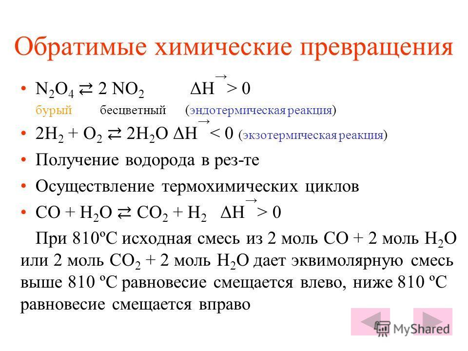 Обратимые химические превращения N 2 O 4 2 NO 2 ΔΗ > 0 бурый бесцветный (эндотермическая реакция) 2H 2 + O 2 2H 2 O ΔΗ < 0 (экзотермическая реакция) Получение водорода в рез-те Осуществление термохимических циклов CO + H 2 O CO 2 + H 2 ΔΗ > 0 При 810