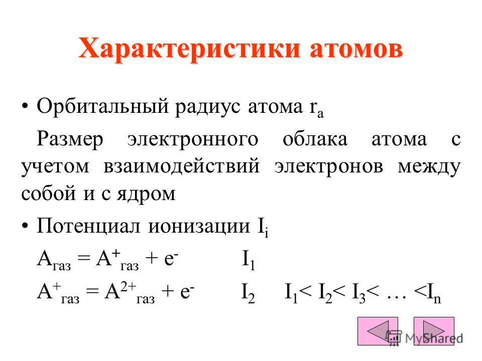 Характеристики атомов Орбитальный радиус атома r a Размер электронного облака атома с учетом взаимодействий электронов между собой и с ядром Потенциал ионизации I i A газ = А + газ + е - I 1 A + газ = А 2+ газ + е - I 2 I 1 < I 2 < I 3 < …