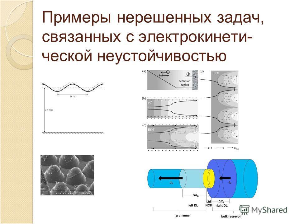 Примеры нерешенных задач, связанных с электрокинети- ческой неустойчивостью