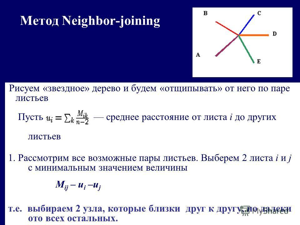 Метод Neighbor-joining Рисуем «звездное» дерево и будем «отщипывать» от него по паре листьев Пусть среднее расстояние от листа i до других листьев 1. Рассмотрим все возможные пары листьев. Выберем 2 листа i и j с минимальным значением величины M ij –