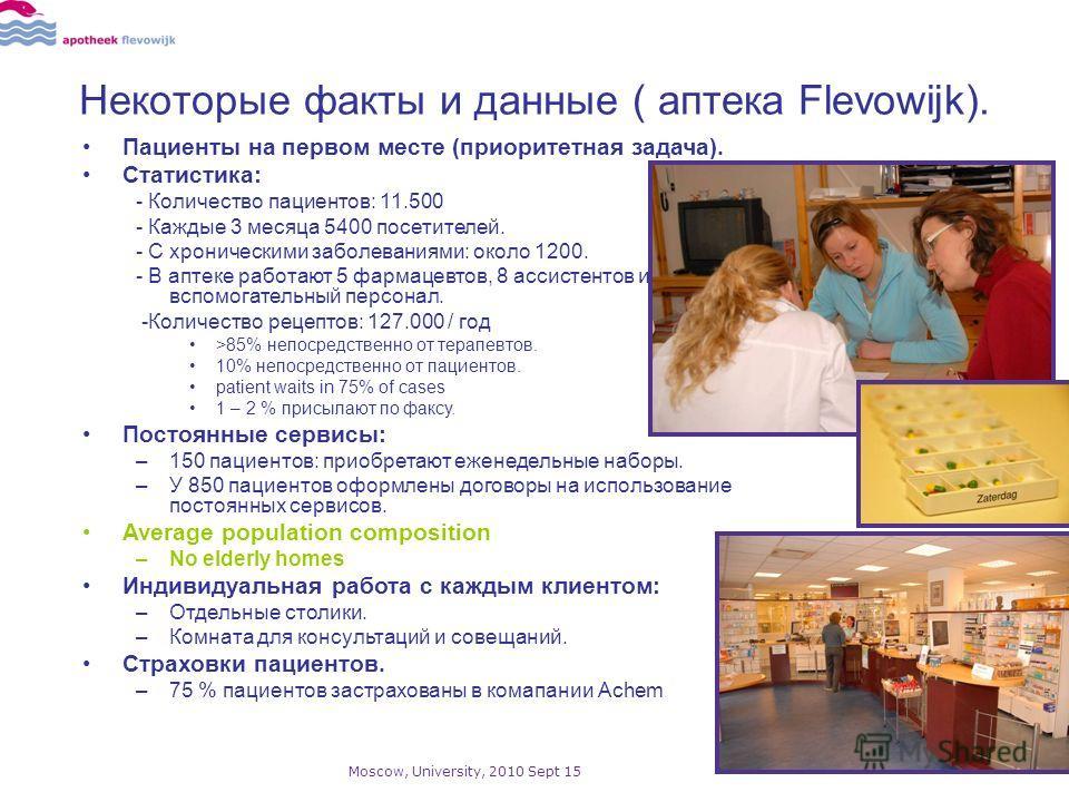 Некоторые факты и данные ( аптека Flevowijk). Пациенты на первом месте (приоритетная задача). Статистика: - Количество пациентов: 11.500 - Каждые 3 месяца 5400 посетителей. - С хроническими заболеваниями: около 1200. - В аптеке работают 5 фармацевтов