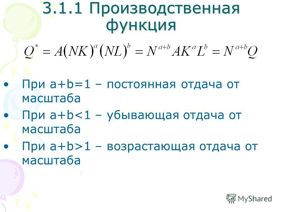 При a+b=1 – постоянная отдача от масштаба При a+b1 – возрастающая отдача от масштаба 3.1.1 Производственная функция