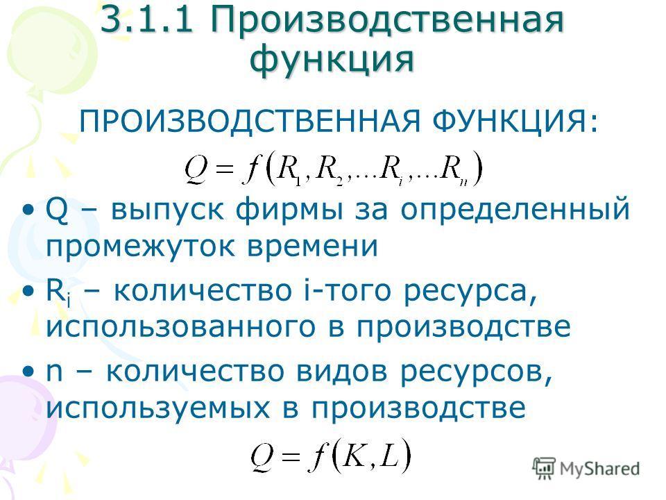 3.1.1 Производственная функция ПРОИЗВОДСТВЕННАЯ ФУНКЦИЯ: Q – выпуск фирмы за определенный промежуток времени R i – количество i-того ресурса, использованного в производстве n – количество видов ресурсов, используемых в производстве