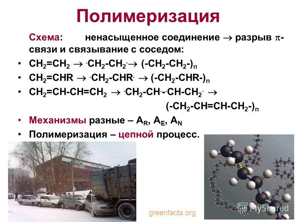Полимеризация Схема: ненасыщенное соединение разрыв - связи и связывание с соседом: CH 2 =CH 2. CH 2 -CH 2. (-CH 2 -CH 2 -) n CH 2 =CHR. CH 2 -CHR. (-CH 2 -CHR-) n CH 2 =CH-CH=CH 2. CH 2 -CH. -. CH-CH 2. (-CH 2 -CH=CH-CH 2 -) n Механизмы разные – A R