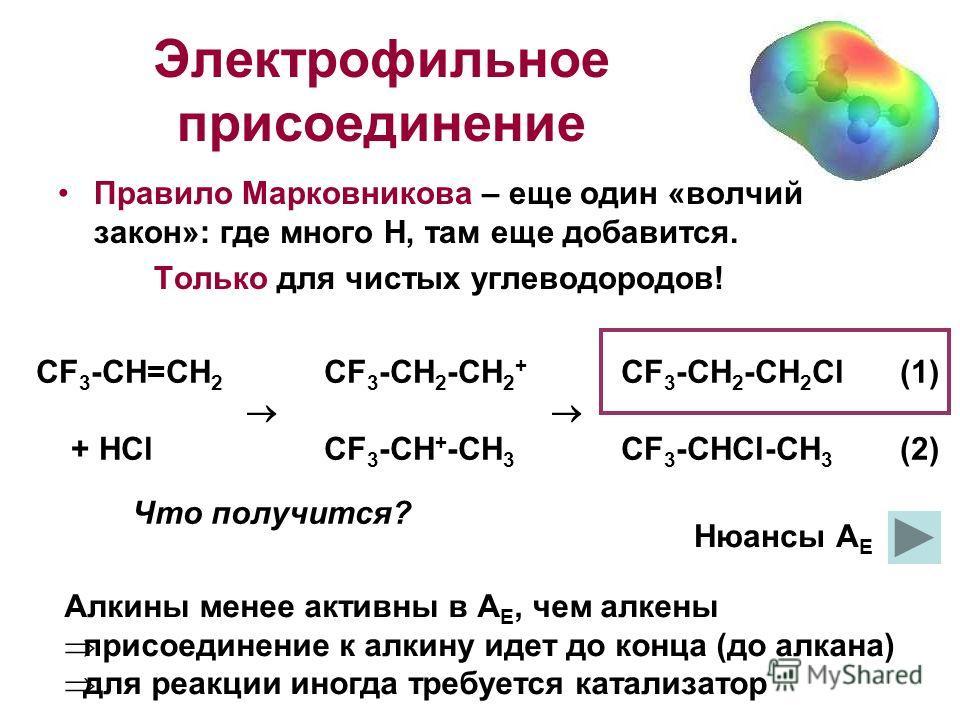 Электрофильное присоединение Правило Марковникова – еще один «волчий закон»: где много Н, там еще добавится. Только для чистых углеводородов! СF 3 -CH=CH 2 CF 3 -CH 2 -CH 2 + CF 3 -CH 2 -CH 2 Cl(1) + HClCF 3 -CH + -CH 3 CF 3 -CHCl-CH 3 (2) Что получи
