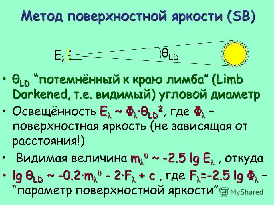 Метод поверхностной яркости (SB) θ LD потемнённый к краю лимба (Limb Darkened, т.е. видимый) угловой диаметрθ LD потемнённый к краю лимба (Limb Darkened, т.е. видимый) угловой диаметр E λ ~ Φ λ ·θ LD 2 Φ λОсвещённость E λ ~ Φ λ ·θ LD 2, где Φ λ – пов