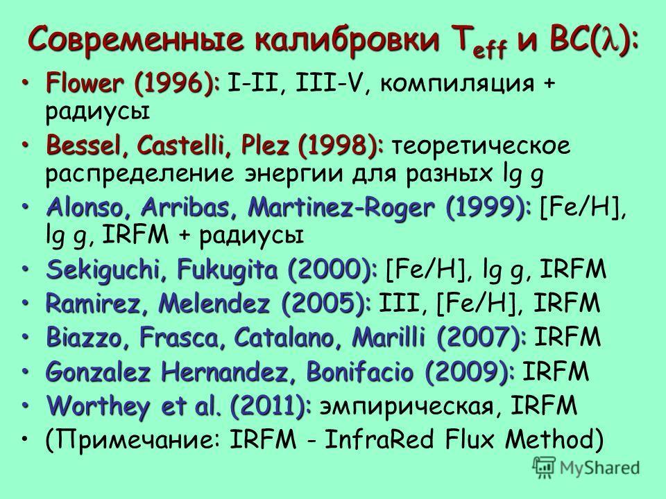 Современные калибровки T eff и BC( λ ): Flower (1996):Flower (1996): I-II, III-V, компиляция + радиусы Bessel, Castelli, Plez (1998):Bessel, Castelli, Plez (1998): теоретическое распределение энергии для разных lg g Alonso, Arribas, Martinez-Roger (1