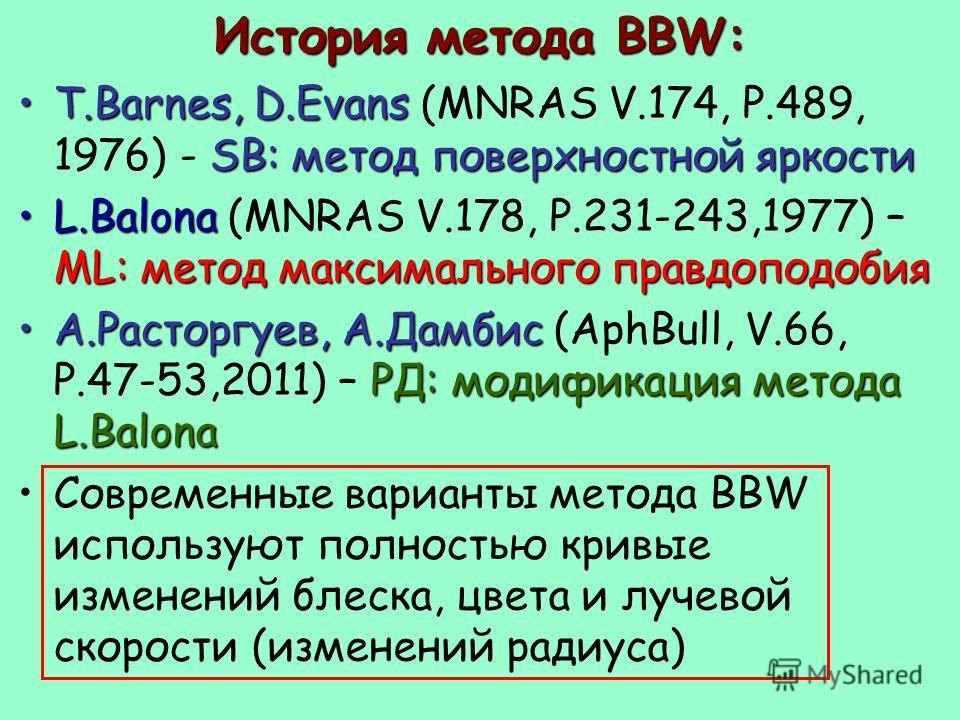 История метода BBW: T.Barnes, D.Evans SB: метод поверхностной яркостиT.Barnes, D.Evans (MNRAS V.174, P.489, 1976) - SB: метод поверхностной яркости L.Balona ML: метод максимального правдоподобияL.Balona (MNRAS V.178, P.231-243,1977) – ML: метод макси