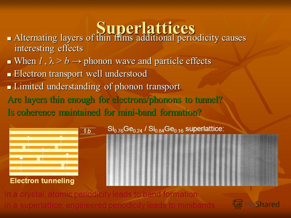 Superlattices Alternating layers of thin films additional periodicity causes interesting effects Alternating layers of thin films additional periodicity causes interesting effects When l, λ > b phonon wave and particle effects When l, λ > b phonon wa
