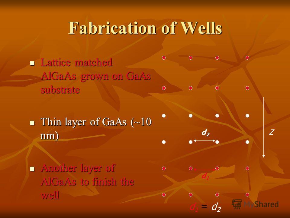 Fabrication of Wells Lattice matched AlGaAs grown on GaAs substrate Lattice matched AlGaAs grown on GaAs substrate Thin layer of GaAs (~10 nm) Thin layer of GaAs (~10 nm) Another layer of AlGaAs to finish the well Another layer of AlGaAs to finish th