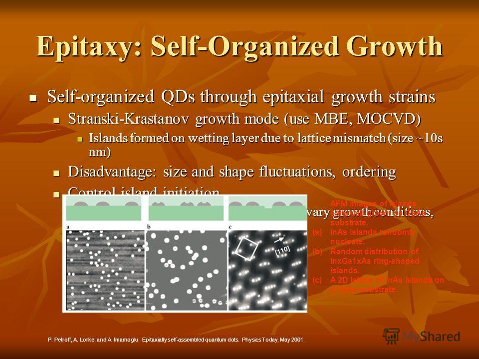 Epitaxy: Self-Organized Growth Self-organized QDs through epitaxial growth strains Self-organized QDs through epitaxial growth strains Stranski-Krastanov growth mode (use MBE, MOCVD) Stranski-Krastanov growth mode (use MBE, MOCVD) Islands formed on w