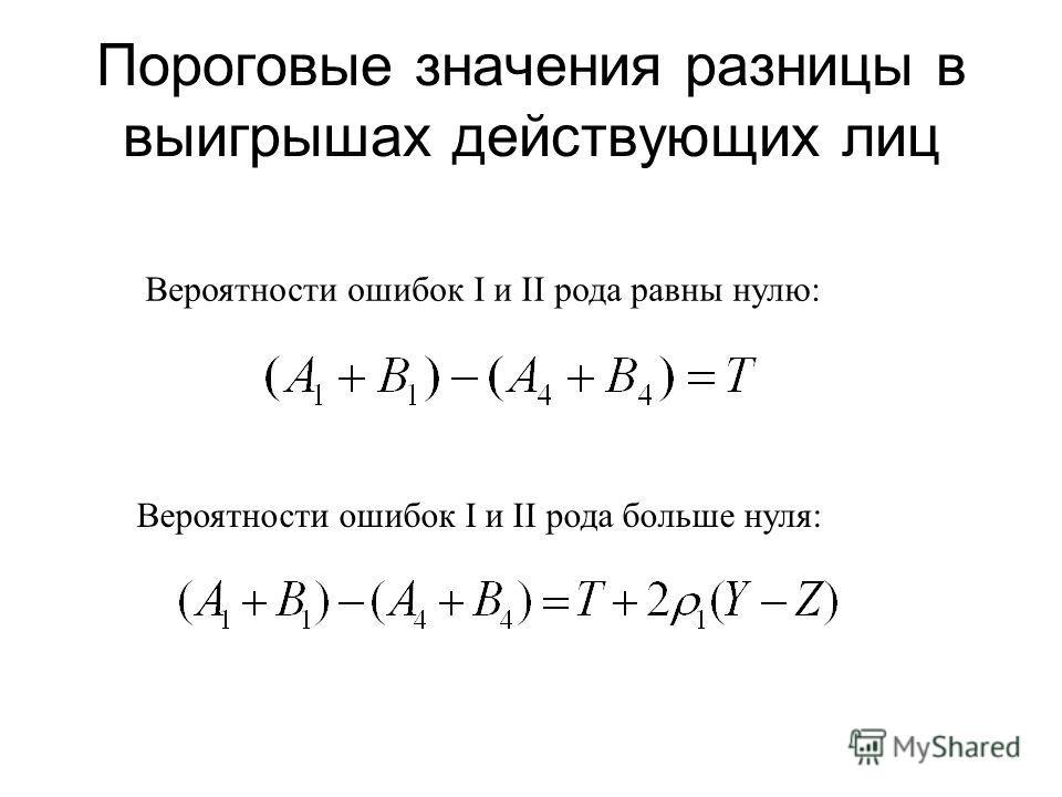 Пороговые значения разницы в выигрышах действующих лиц Вероятности ошибок I и II рода равны нулю: Вероятности ошибок I и II рода больше нуля: