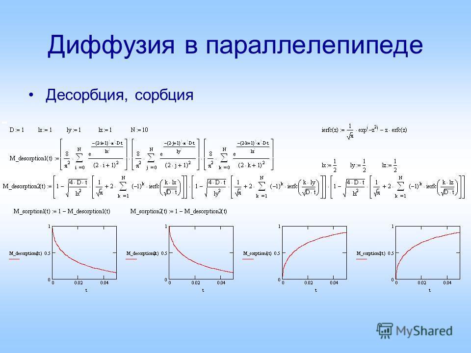 Диффузия в параллелепипеде Десорбция, сорбция