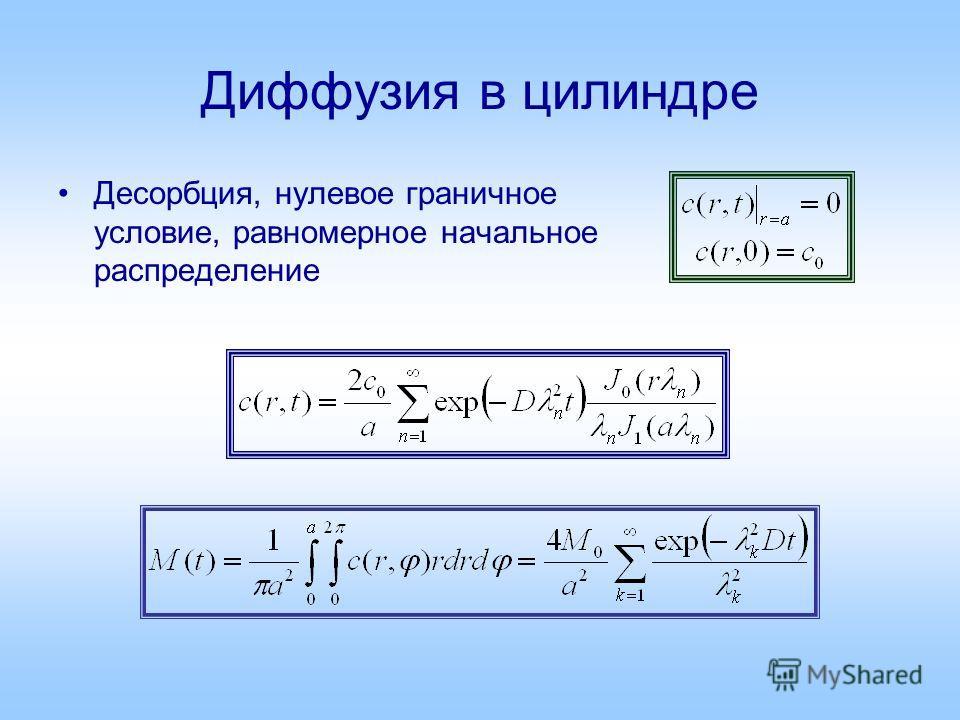 Диффузия в цилиндре Десорбция, нулевое граничное условие, равномерное начальное распределение