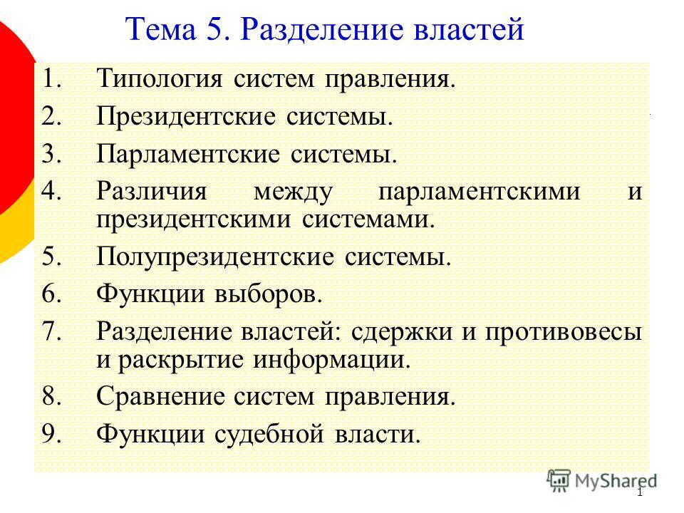 1 Тема 5. Разделение властей 1.Типология систем правления. 2.Президентские системы. 3.Парламентские системы. 4.Различия между парламентскими и президентскими системами. 5.Полупрезидентские системы. 6.Функции выборов. 7.Разделение властей: сдержки и п