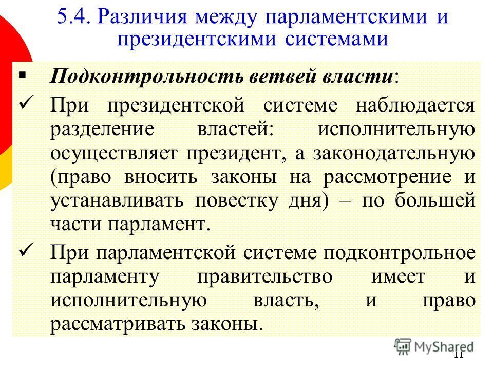 11 Подконтрольность ветвей власти: При президентской системе наблюдается разделение властей: исполнительную осуществляет президент, а законодательную (право вносить законы на рассмотрение и устанавливать повестку дня) – по большей части парламент. Пр