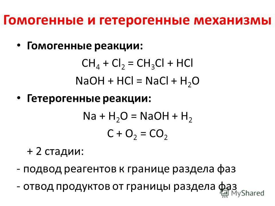 Гомогенные и гетерогенные механизмы Гомогенные реакции: СН 4 + Cl 2 = СH 3 Cl + HCl NaOH + HCl = NaCl + H 2 O Гетерогенные реакции: Na + H 2 O = NaOH + H 2 C + O 2 = CO 2 + 2 стадии: - подвод реагентов к границе раздела фаз - отвод продуктов от грани