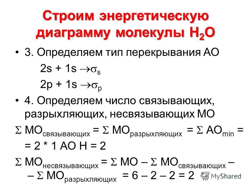 Строим энергетическую диаграмму молекулы Н 2 О 3. Определяем тип перекрывания АО 2s + 1s s 2p + 1s p 4. Определяем число связывающих, разрыхляющих, несвязывающих МО МО связывающих = МО разрыхляющих = АО min = = 2 * 1 АО Н = 2 МО несвязывающих = МО –