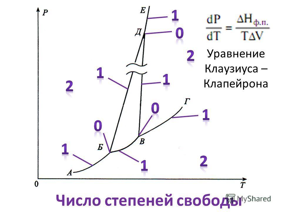 Число степеней свободы Уравнение Клаузиуса – Клапейрона