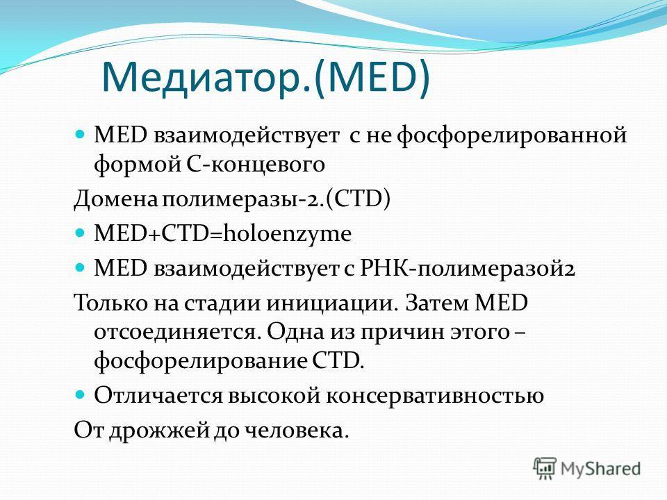 Медиатор.(MED) MED взаимодействует с не фосфорелированной формой С-концевого Домена полимеразы-2.(СTD) MED+СTD=holoenzyme MED взаимодействует с РНК-полимеразой2 Только на стадии инициации. Затем MED отсоединяется. Одна из причин этого – фосфорелирова