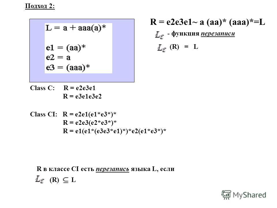Class C: R = e2e3e1 R = e3e1e3e2 Class CI: R = e2e1(e1*e3*)* R = e2e3(e2*e3*)* R = e1(e1*(e3e3*e1)*)*e2(e1*e3*)* R в классе CI есть перезапись языка L, если (R) L (R) = L - функция перезаписи R = e2e3e1~ a (aa)* (aaa)*=L Подход 2: