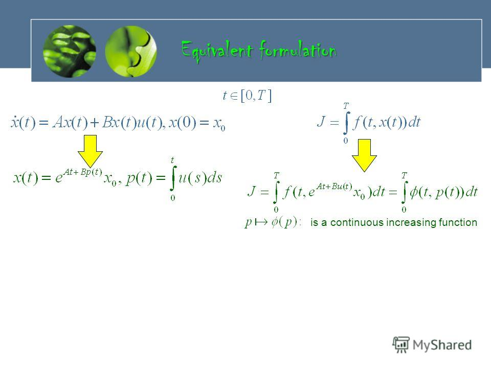 Equivalent formulation is a continuous increasing function