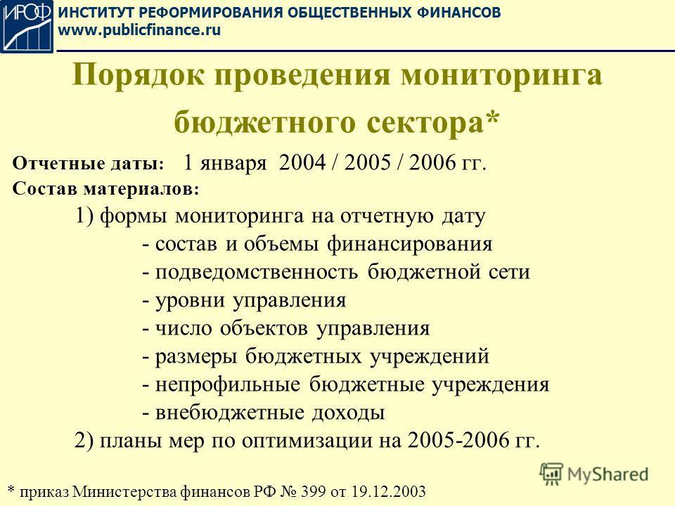 Отчетные даты : 1 января 2004 / 2005 / 2006 гг. Состав материалов : 1) формы мониторинга на отчетную дату - состав и объемы финансирования - подведомственность бюджетной сети - уровни управления - число объектов управления - размеры бюджетных учрежде
