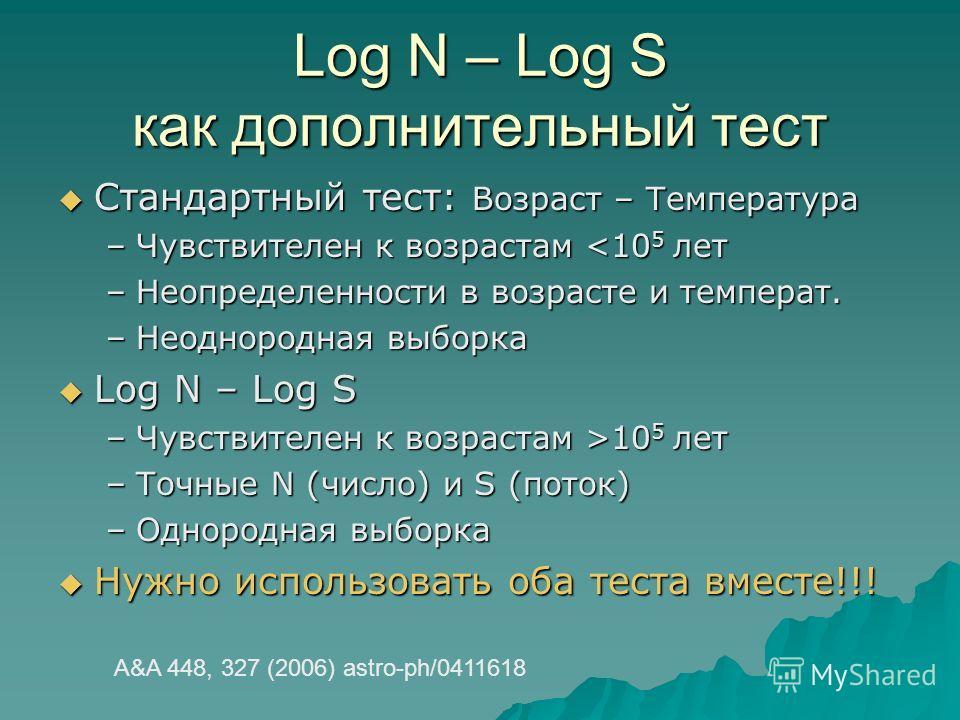 Log N – Log S как дополнительный тест Стандартный тест: Возраст – Температура Стандартный тест: Возраст – Температура –Чувствителен к возрастам 10 5 лет –Точные N (число) и S (поток) –Однородная выборка Нужно использовать оба теста вместе!!! Нужно ис