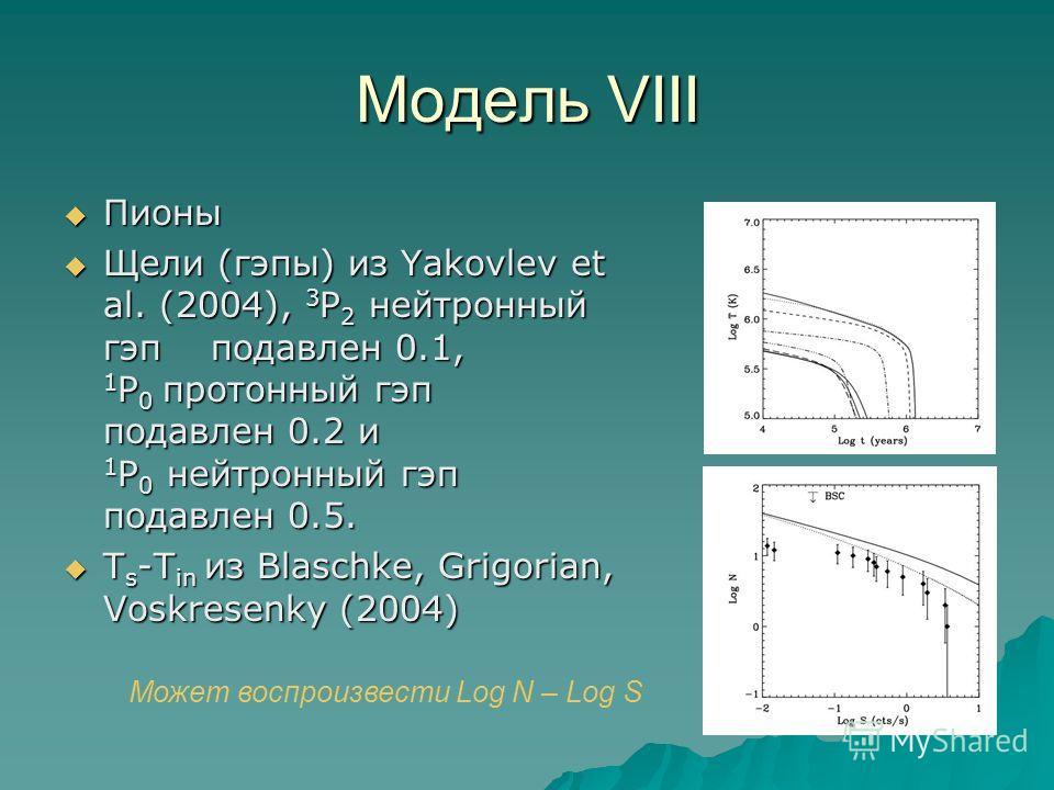 Модель VIII Пионы Пионы Щели (гэпы) из Yakovlev et al. (2004), 3 P 2 нейтронный гэп подавлен 0.1, 1 P 0 протонный гэп подавлен 0.2 и 1 P 0 нейтронный гэп подавлен 0.5. Щели (гэпы) из Yakovlev et al. (2004), 3 P 2 нейтронный гэп подавлен 0.1, 1 P 0 пр