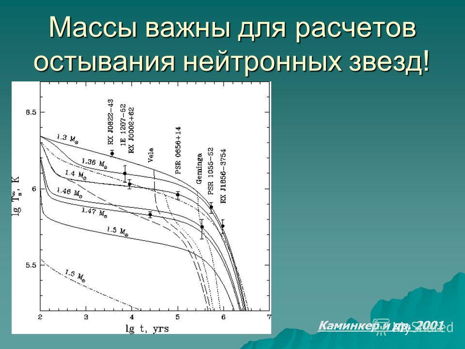 Каминкер и др. 2001 Массы важны для расчетов остывания нейтронных звезд!