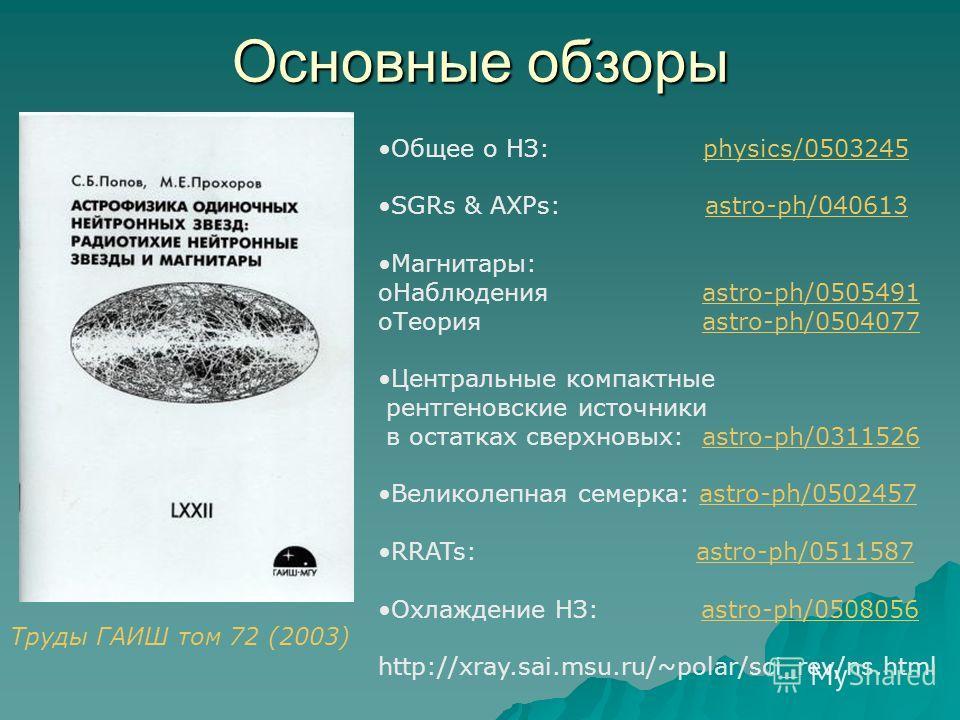 Основные обзоры Общее о НЗ: physics/0503245physics/0503245 SGRs & AXPs: astro-ph/040613 Магнитары: oНаблюдения astro-ph/0505491astro-ph/0505491 oТеория astro-ph/0504077astro-ph/0504077 Центральные компактные рентгеновские источники в остатках сверхно