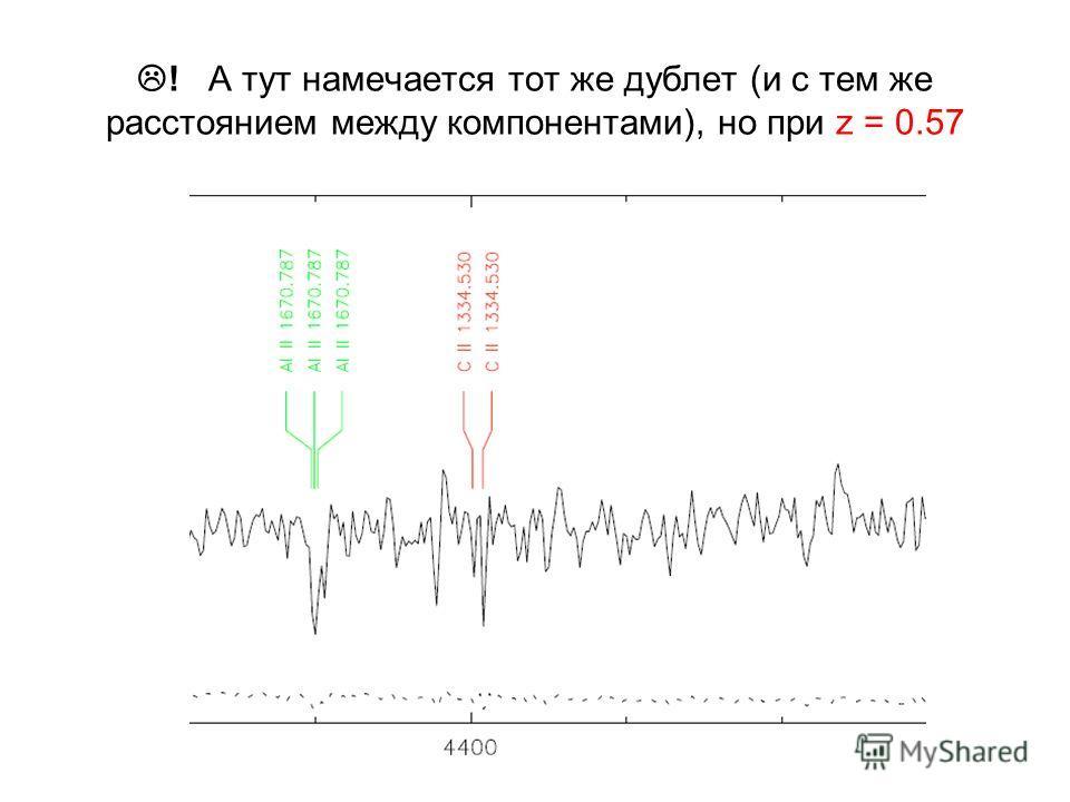 ! А тут намечается тот же дублет (и с тем же расстоянием между компонентами), но при z = 0.57