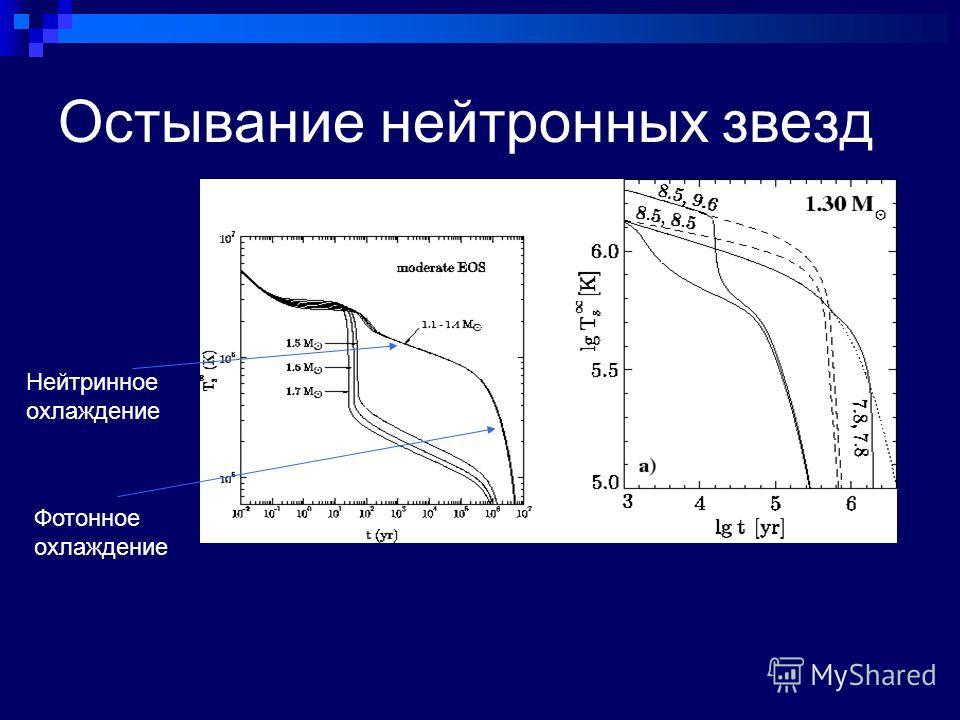 Остывание нейтронных звезд Фотонное охлаждение Нейтринное охлаждение