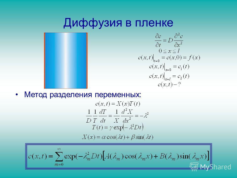 Диффузия в пленке Метод разделения переменных: