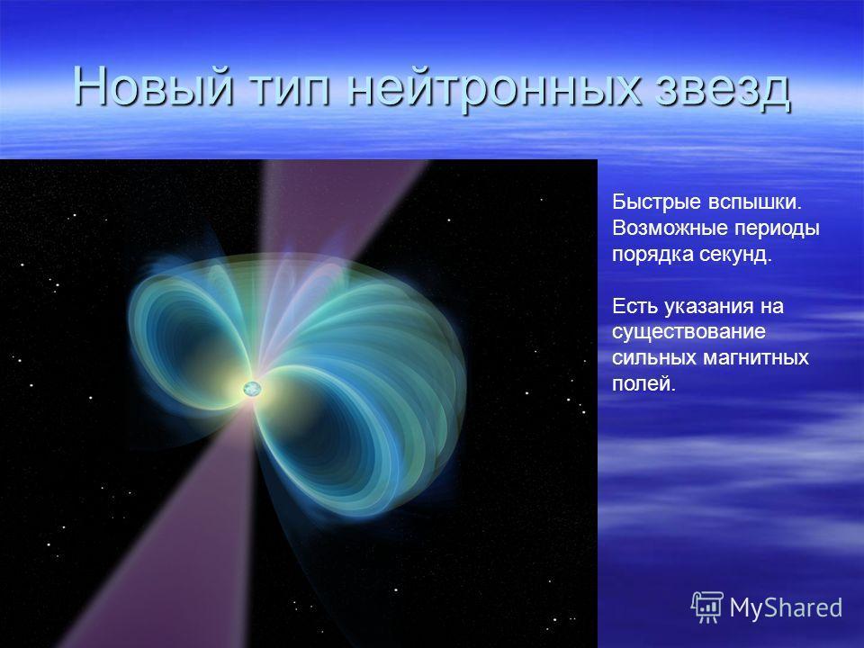 Новый тип нейтронных звезд Быстрые вспышки. Возможные периоды порядка секунд. Есть указания на существование сильных магнитных полей.