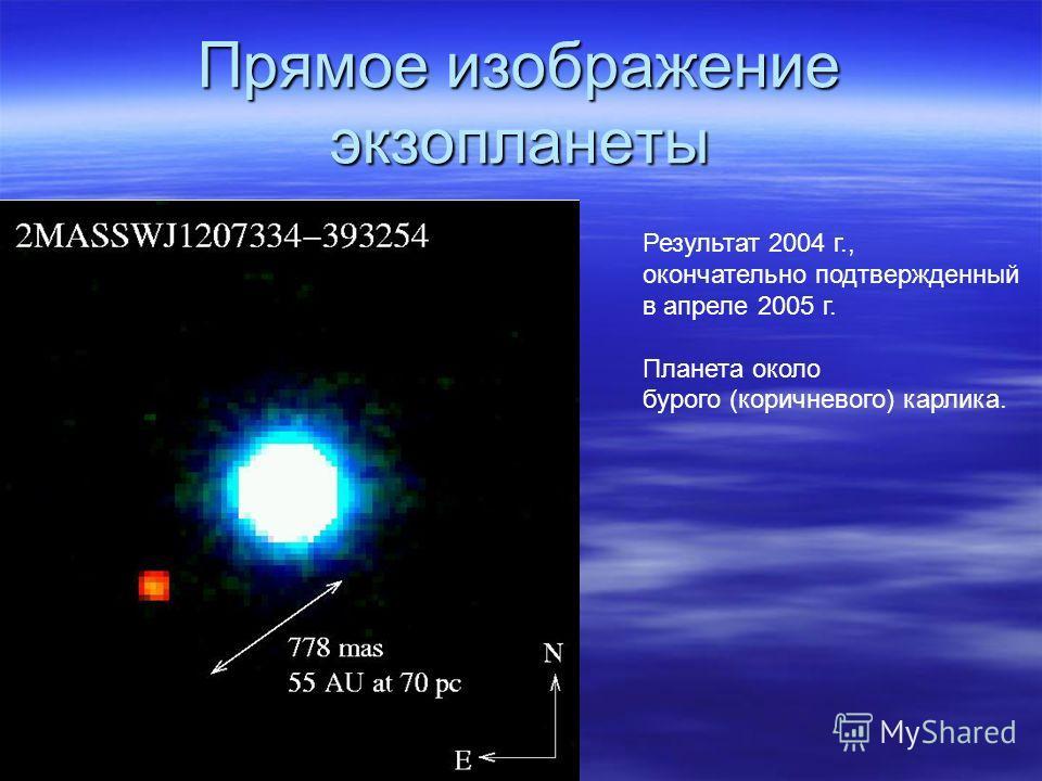 Прямое изображение экзопланеты Результат 2004 г., окончательно подтвержденный в апреле 2005 г. Планета около бурого (коричневого) карлика.