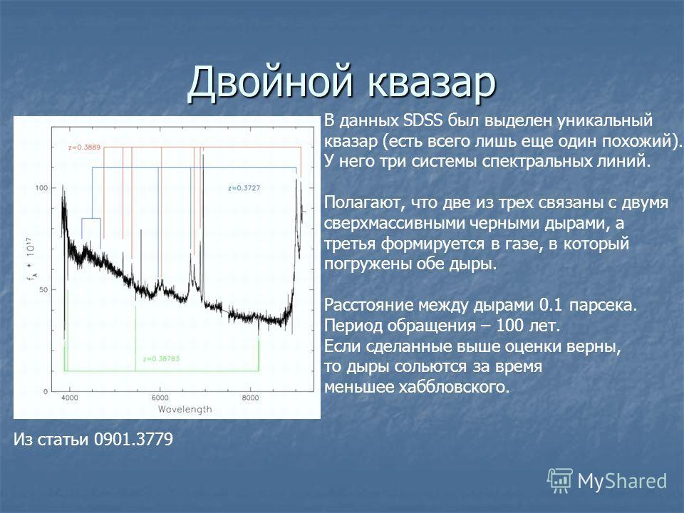 Двойной квазар В данных SDSS был выделен уникальный квазар (есть всего лишь еще один похожий). У него три системы спектральных линий. Полагают, что две из трех связаны с двумя сверхмассивными черными дырами, а третья формируется в газе, в который пог