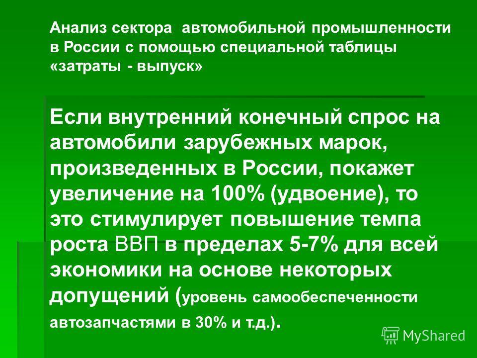 Анализ сектора автомобильной промышленности в России с помощью специальной таблицы «затраты - выпуск» Если внутренний конечный спрос на автомобили зарубежных марок, произведенных в России, покажет увеличение на 100% (удвоение), то это стимулирует пов