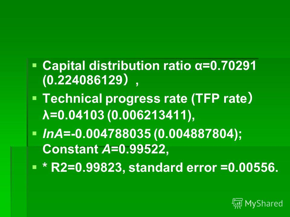 Capital distribution ratio α=0.70291 (0.224086129, Technical progress rate (TFP rate λ=0.04103 (0.006213411), lnA=-0.004788035 (0.004887804); Constant A=0.99522, * R2=0.99823, standard error =0.00556.