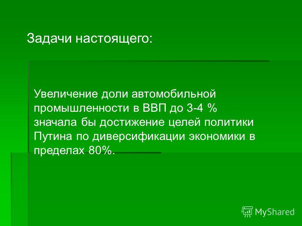Задачи настоящего: Увеличение доли автомобильной промышленности в ВВП до 3-4 % значала бы достижение целей политики Путина по диверсификации экономики в пределах 80%.