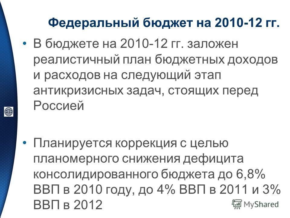 Федеральный бюджет на 2010-12 гг. В бюджете на 2010-12 гг. заложен реалистичный план бюджетных доходов и расходов на следующий этап антикризисных задач, стоящих перед Россией Планируется коррекция с целью планомерного снижения дефицита консолидирован
