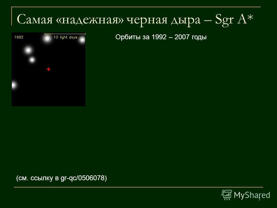 7 Самая «надежная» черная дыра – Sgr A* (см. ссылку в gr-qc/0506078) Орбиты за 1992 – 2007 годы