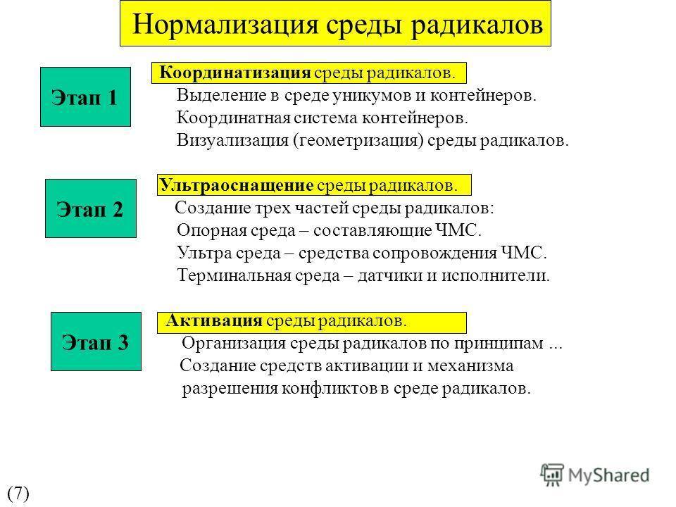 Нормализация среды радикалов (7)(7) Координатизация среды радикалов. Выделение в среде уникумов и контейнеров. Координатная система контейнеров. Визуализация (геометризация) среды радикалов. Ультраоснащение среды радикалов. Создание трех частей среды