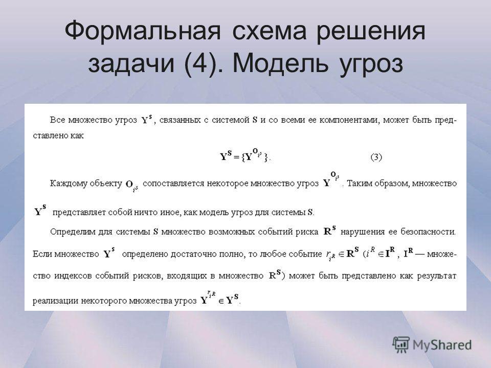Формальная схема решения задачи (4). Модель угроз