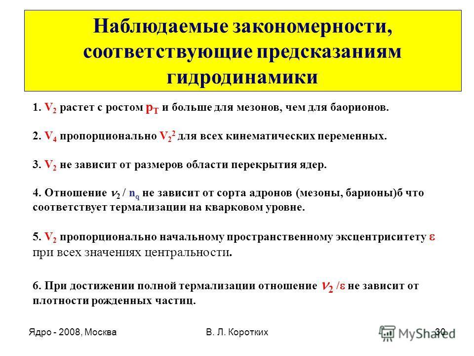 Ядро - 2008, МоскваВ. Л. Коротких30 1. V 2 растет с ростом р Т и больше для мезонов, чем для баорионов. 2. V 4 пропорционально V 2 2 для всех кинематических переменных. 3. V 2 не зависит от размеров области перекрытия ядер. 4. Отношение 2 / n q не за